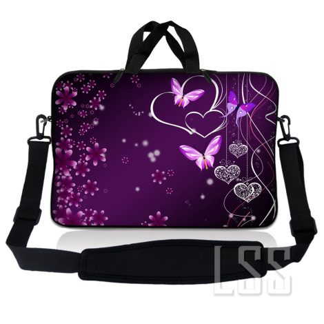 Notebook / Netbook Sleeve Carrying Case w/ Handle & Shoulder Strap – Purple Heart Butterfly