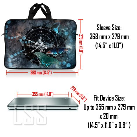 Notebook / Netbook Sleeve Carrying Case w/ Handle & Shoulder Strap – Clock Butterfly Time