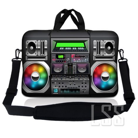 Notebook / Netbook Sleeve Carrying Case w/ Handle & Shoulder Strap – Boom Box Musicy