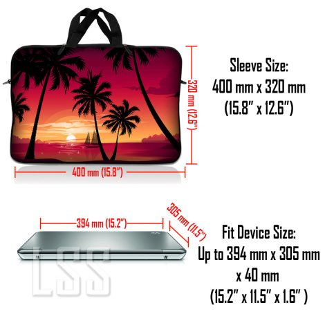 Notebook / Netbook Sleeve Carrying Case w/ Handle & Shoulder Strap – Hawaiian Paradise Palm Tree