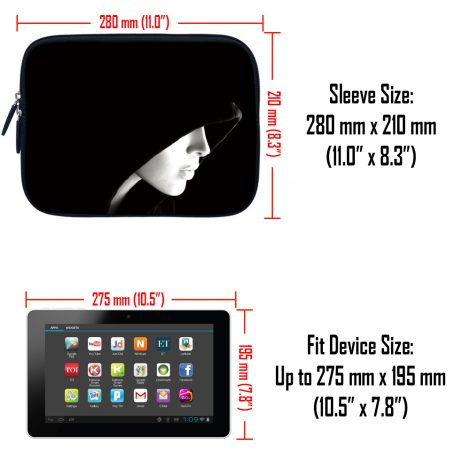 Tablet Sleeve Carrying Case w/ Hidden Handle – Lady in Hood