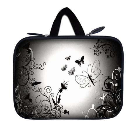Tablet Sleeve Carrying Case w/ Hidden Handle – Dark Contrast Fade Butterfly