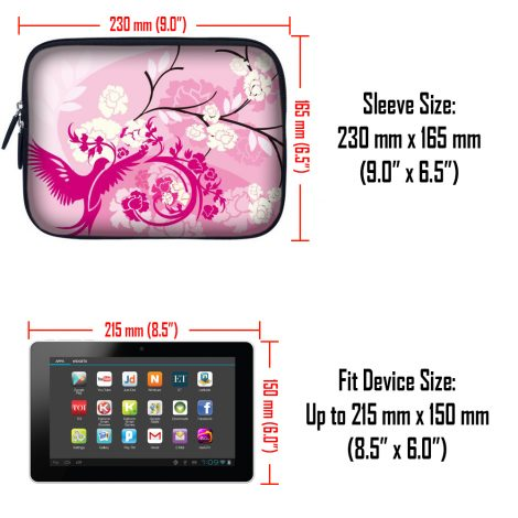 Tablet Sleeve Carrying Case w/ Hidden Handle – Pink White Roses Bird Floral