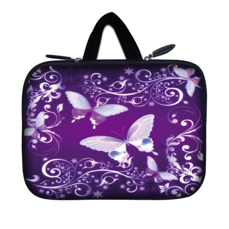 Tablet Sleeve Carrying Case w/ Hidden Handle – Purple Butterfly