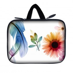 Tablet Sleeve Carrying Case w/ Hidden Handle – Daisy Flower Leaves Floral