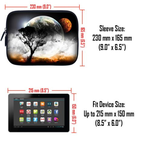 Tablet Sleeve Carrying Case w/ Hidden Handle – Earth and Moon Eclipse