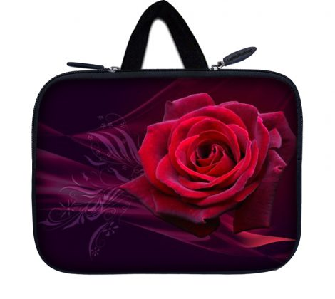 Tablet Sleeve Carrying Case w/ Hidden Handle – Pink Rose Floral Flower