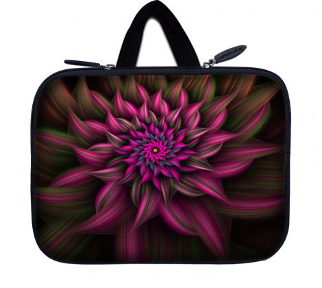Tablet Sleeve Carrying Case w/ Hidden Handle – Purple Floral Flower