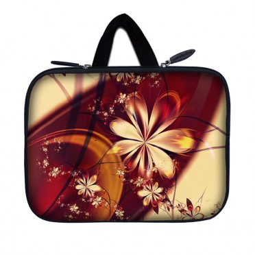 Tablet Sleeve Carrying Case w/ Hidden Handle – Gold Flower Floral
