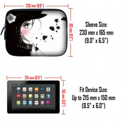 Tablet Sleeve Carrying Case w/ Hidden Handle – Girl with White Rose