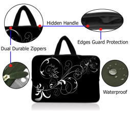 Tablet Sleeve Carrying Case w/ Hidden Handle – Vines Black and White Swirl Floral