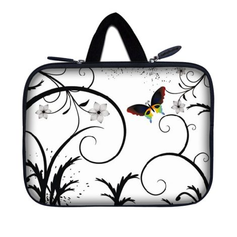 Tablet Sleeve Carrying Case w/ Hidden Handle – White Butterfly Escape Floral
