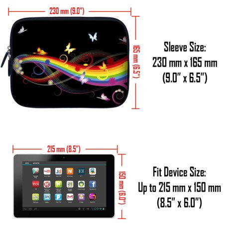 Tablet Sleeve Carrying Case w/ Hidden Handle – Rainbow Butterfly