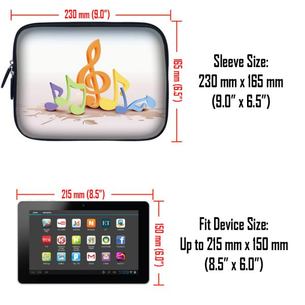 Tablet Sleeve Carrying Case w/ Hidden Handle – Musical Notes