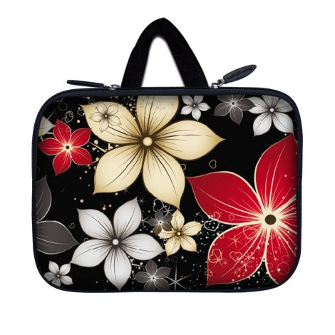 Tablet Sleeve Carrying Case w/ Hidden Handle – Black Gray Red Flower Leaves