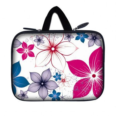 Tablet Sleeve Carrying Case w/ Hidden Handle – White Pink Blue Flower Leaves