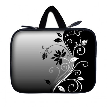 Tablet Sleeve Carrying Case w/ Hidden Handle – Gray Black Swirl Floral
