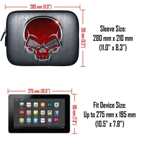 Tablet Sleeve Carrying Case w/ Hidden Handle – Silver Red Skull