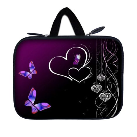 Tablet Sleeve Carrying Case w/ Hidden Handle – Butterfly Heart Floral