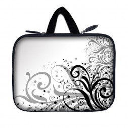 Tablet Sleeve Carrying Case w/ Hidden Handle – Grey Swirl Black & White Floral