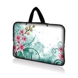 Tablet Sleeve Carrying Case w/ Hidden Handle – Pink Flower Floral