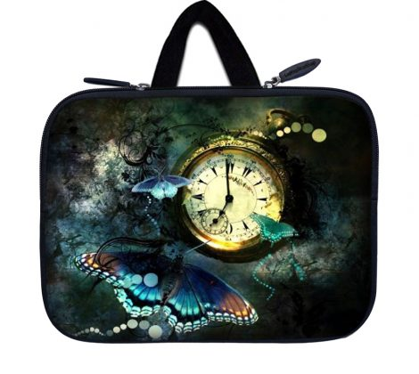 Tablet Sleeve Carrying Case w/ Hidden Handle – Clock Butterfly Floral