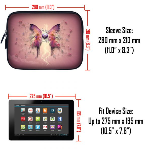 Tablet Sleeve Carrying Case w/ Hidden Handle – Pink Butterfly Floral