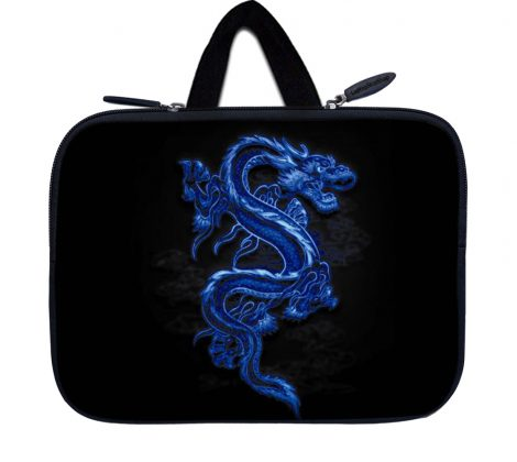 Tablet Sleeve Carrying Case w/ Hidden Handle – Blue Dragon