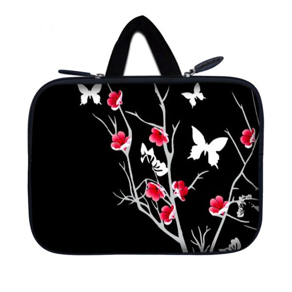 Tablet Sleeve Carrying Case w/ Hidden Handle – Pink Gray Floral