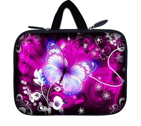 Tablet Sleeve Carrying Case w/ Hidden Handle – Purple Butterfly Floral