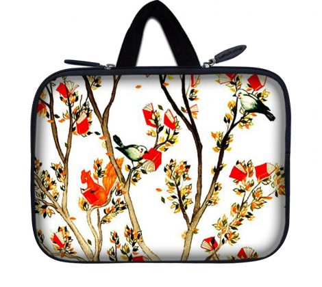 Tablet Sleeve Carrying Case w/ Hidden Handle – Birds and Animal on Branches Love