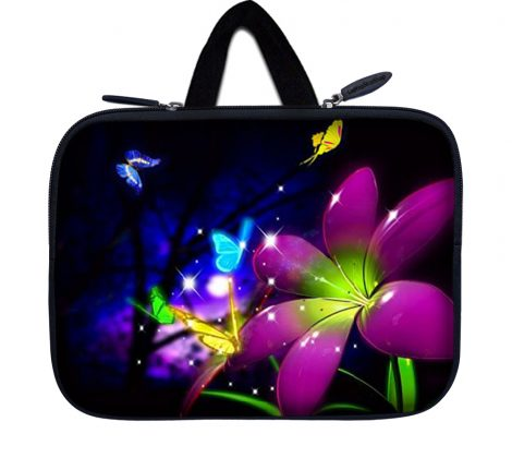 Tablet Sleeve Carrying Case w/ Hidden Handle – Purple Blue Floral