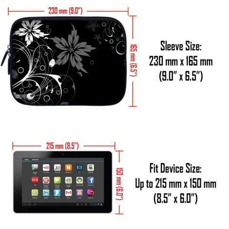 Tablet Sleeve Carrying Case w/ Hidden Handle – Black and White Floral