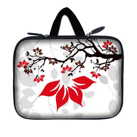 Tablet Sleeve Carrying Case w/ Hidden Handle – White Grey Branches Floral