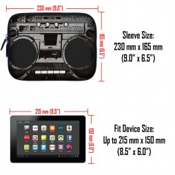 Tablet Sleeve Carrying Case w/ Hidden Handle – Cassette Player Design