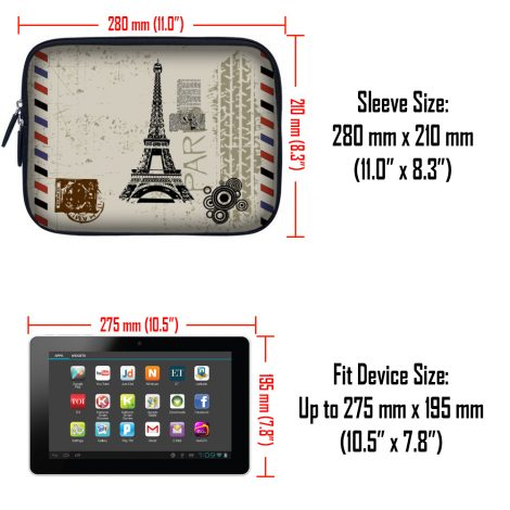 Tablet Sleeve Carrying Case w/ Hidden Handle – Paris Design