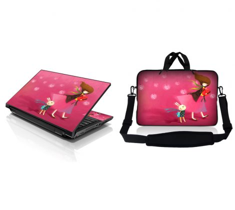Notebook / Netbook Sleeve Carrying Case w/ Handle & Adjustable Shoulder Strap & Matching Skin – Girl Birthday Party
