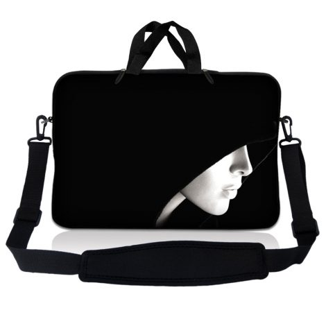 Notebook / Netbook Sleeve Carrying Case w/ Handle & Adjustable Shoulder Strap & Matching Skin – Lady in Hood