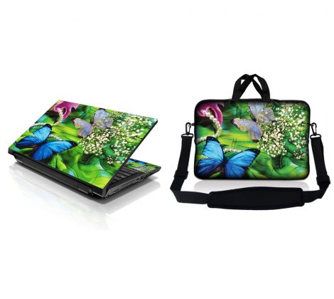 Notebook / Netbook Sleeve Carrying Case w/ Handle & Adjustable Shoulder Strap & Matching Skin – Butterfly Floral