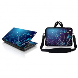 Notebook / Netbook Sleeve Carrying Case w/ Handle & Adjustable Shoulder Strap & Matching Skin – Blue Swirl Mid Summer Night Floral
