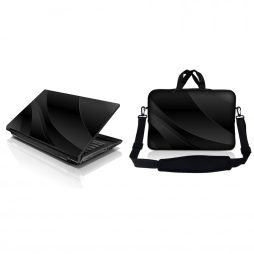 Notebook / Netbook Sleeve Carrying Case w/ Handle & Adjustable Shoulder Strap & Matching Skin – Twilight Grey Black