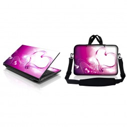 Notebook / Netbook Sleeve Carrying Case w/ Handle & Adjustable Shoulder Strap & Matching Skin – Pink Heart