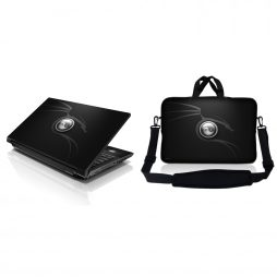 Notebook / Netbook Sleeve Carrying Case w/ Handle & Adjustable Shoulder Strap & Matching Skin – Ying Yang Black