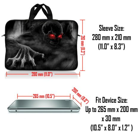 Notebook / Netbook Sleeve Carrying Case w/ Handle & Adjustable Shoulder Strap & Matching Skin – Red Eye Dark Ghost Zombie Skull