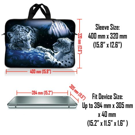 Notebook / Netbook Sleeve Carrying Case w/ Handle & Adjustable Shoulder Strap & Matching Skin – Mountain Lions