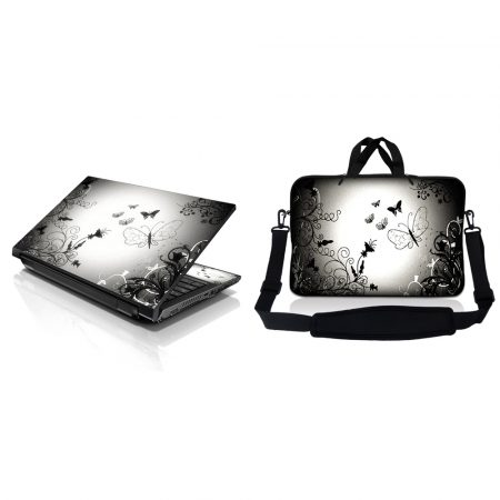 Notebook / Netbook Sleeve Carrying Case w/ Handle & Adjustable Shoulder Strap & Matching Skin – Dark Contrast Fade Butterfly