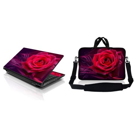Notebook / Netbook Sleeve Carrying Case w/ Handle & Adjustable Shoulder Strap & Matching Skin – Pink Rose Floral Flower