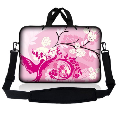 Notebook / Netbook Sleeve Carrying Case w/ Handle & Adjustable Shoulder Strap & Matching Skin – Pink White Roses Bird Floral