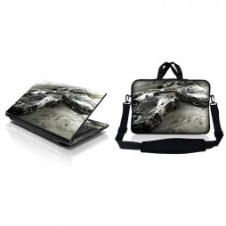 Notebook / Netbook Sleeve Carrying Case w/ Handle & Adjustable Shoulder Strap & Matching Skin – Race Cars