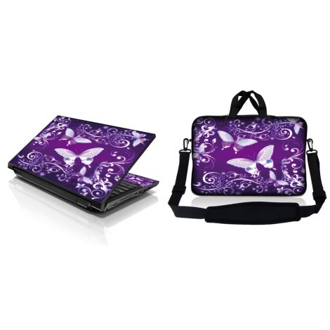 Notebook / Netbook Sleeve Carrying Case w/ Handle & Adjustable Shoulder Strap & Matching Skin – Purple Butterfly